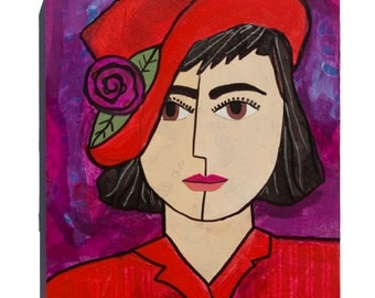 RED HAT art - Woman Portrait - Red Hat Society Inspired, Red and Purple - 11 x 14 Mixed Media Collage Art  - Whimsical Art