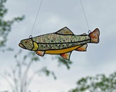 Stained Glass Brook-Trout with Iridescent Glass and Upcycled Beer Bottle Glass