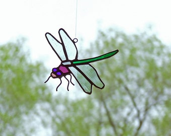 Unique Home Decor - Stained Glass Dragonfly - Art Glass Insect - Bug Decor Nature Gift