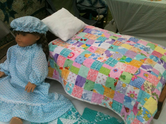 American Girl Doll Quilt - Handmade Flannel Quilt by Glory Quilts