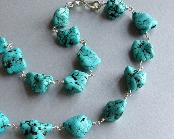 Extra Large Chunky Turquoise Necklace In Silver By