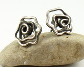Oxidized Silver Rose Post Earrings