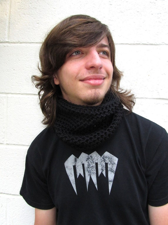 Mens Cowl Scarf Black Cashmere Unisex for Him or Her