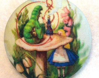 Alice in Wonderland - Caterpillar & Hookah - Hand Printed Fabric Covered Button 1 and 1/2 inch