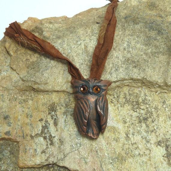 Owl Pendant  -Jet Black antiqued with Copper