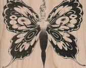 Rubber stamp Butterfly woman scrapbooking supplies number 18198 wood Mounted unmounted or cling stamp