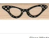 rubber stamp eye 1950s cat glasses retro  cling stamp, unmounted or wood mounted rubber stamp   number 10604
