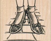 Rubber stamp    ruby shoes   Wizard of Oz  wood Mounted  scrapbooking supplies number 6023