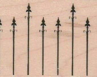 Halloween stamps  Spiked Cemetery Fence    rubber stamps   wood mounted 18919