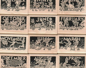 12 rubber stamps Brownie fairy month calendar  unmounted   Months Brownies Greenies  15413