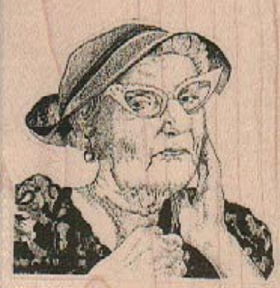 Rubber stamp old woman hat and glasses    wood Mounted  scrapbooking supplies number 18186