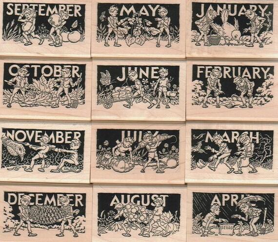 Calendar Sheet Rubber : Rubber stamps brownie fairy month calendar unmounted