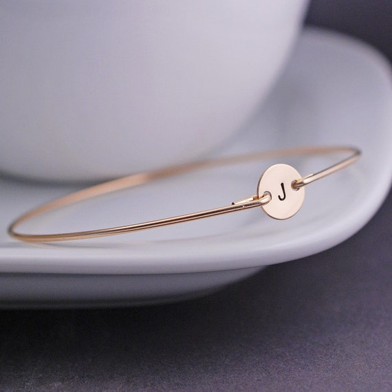 Bangle Bracelet, Gold Bangle Bracelet, Simple Gold Initial Bracelet, Friend Christmas Gift