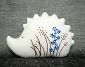 LAST SALE - Tiny Happy Hedgehog with One Blue Flower