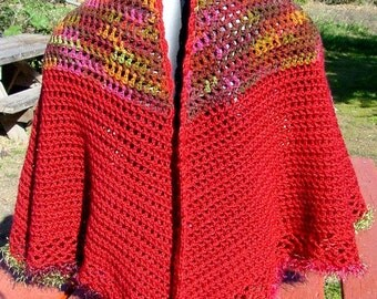 Red Cape With Fall Colored Yoke - Handmade Crochet - Winter Fall Accessory