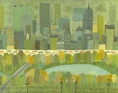 "Central Park at Fifth Avenue.  Limited edition 24""x36"" print by Matte Stephens."