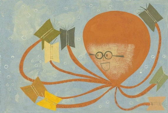 Reading is fun.  Original gouache painting by Matte Stephens.