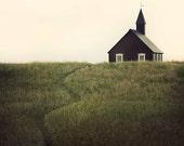 Landscape Photography, Rustic Decor, Fine Art Photography, Black Rural Church, Iceland, Wall Decor, Landscape Print - A Simple Path