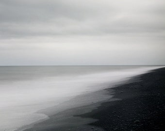 Nordic Landscape Photography, Minimalist Ocean Art, Modern Icelandic Nature Print, Black and White Nordic Art, 8x8 - The Ghost in You