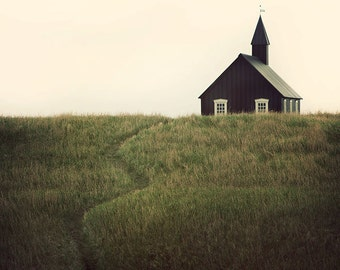 Landscape Photography, Rustic Decor, Fine Art Photography, Black Rural Church, Iceland, Wall Decor, Landscape Print - A Simple Path
