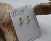 Lime Green Genuine Sea Glass Post Earrings by Lake Erie Beach Glass LEbg