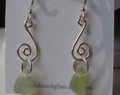 CHARTREUSE GREEN Genuine Sea Glass Earrings by Lake Erie Beach Glass LEbg