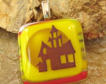 Halloween Jewelry, Fused Glass Halloween Pendant, Ghost Town Fused Glass Pendant, Yellow Glass Pendant, Haunted House