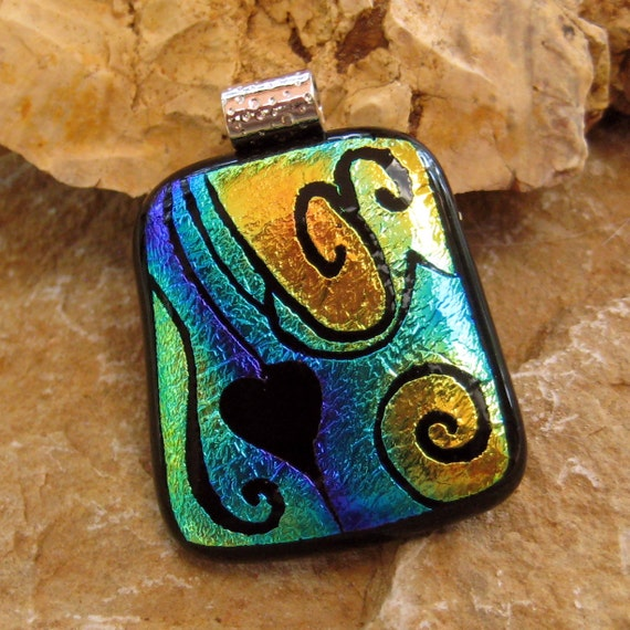 Dichroic Fused Glass Hand Etched  Pendant, Fused Glass Pendant -Mardi Gras Heart
