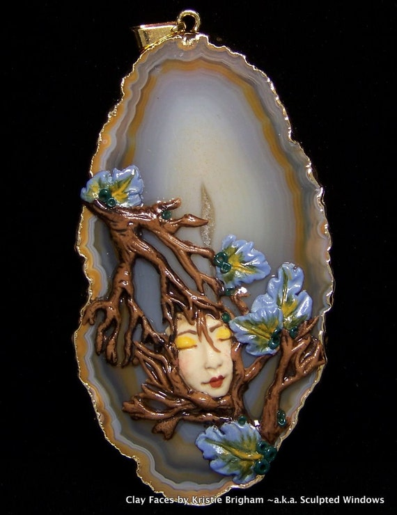 Autumn Leaves and Branches Tree Goddess FACE PENDANT or BEAD Polymer Clay and Lavender Chalcedony
