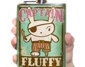 Captain Fluffy flask- stainless steel - 8oz.