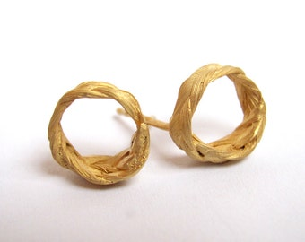 Zopf Earrings Circle post gold plated