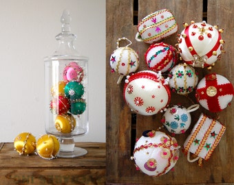 lot of 18 vintage Christmas ornaments / handmade xmas decor / Pink Gold Cream Green Pearl Red / Styrofoam / Beaded Velvet Ribbon