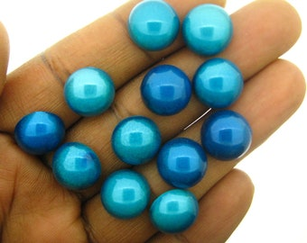 Only 2 Sets In Stock-12 Pieces Vinatge 12mm round  Moonglow Acrylic Turquoise Blue Cabs