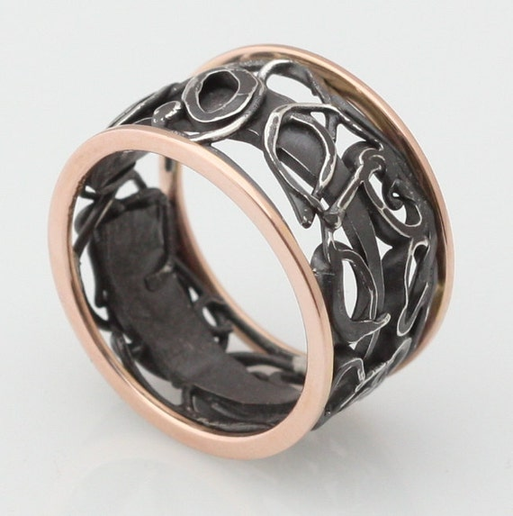 black and gold rustic wedding band, rose gold, black and white silver collage ring
