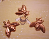 Bee Charm Solid Copper Medium Finding on Etsy x 3