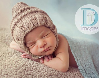 Pixie bonnet baby hat with button and chin strap hand knit caramel light brown natural newborn boy girl photography photo prop