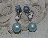 Blue Bead Earrings..Vintage..Marked JAPAN..Clip..Silver Metal with Blue and White Beads