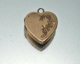 Vintage 14k Gold Heart Locket Charm Pendant