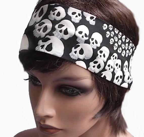 White Spiraling Skulls on Black Wide Cotton Headband Goth Gothic