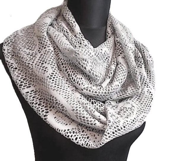 Lace Crochet Look Infinity Eternity Circle Scarf in Soft Grey Gray Extra Long