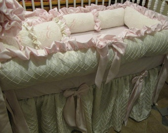 Pink and Ivory  Luxury Baby  Crib     Nursery  Bedding  Using Rosette for skirt