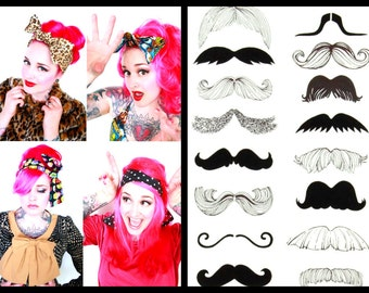 Mustache Hair Bow Bandana Head Scarf -Retro Rockabilly