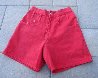 SALE 10.00 Vintage 80s Red Cotton High Waist Steel Jeans Made in USA sz 9 W29