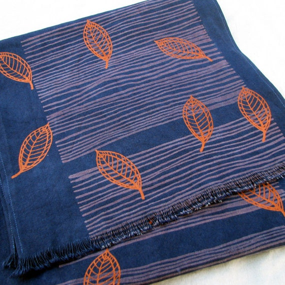 Table runner, tablecloth, tabelware, screenprinted leaves, copper leaves, fall design, hand dyed, copper, indigo colour,organic cotton, hemp