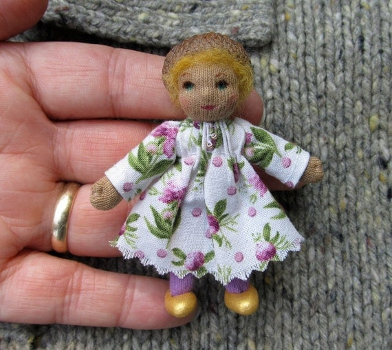 Tiny Acorn Hat Pin Doll