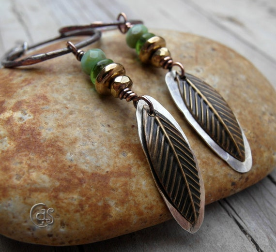 Boho Copper Hoops Rustic Feather Earrings Earthy Green
