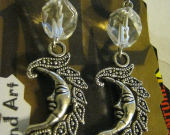 Silver Half Moon Earrings Withj Clear Crystals