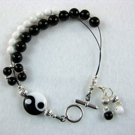 Yin-Yang - Combination Stitch Marker Holder and Abacus Row Counter Bracelet - Item No. 857