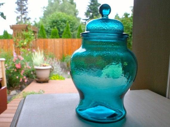 Large Teal Glass Ginger Jar