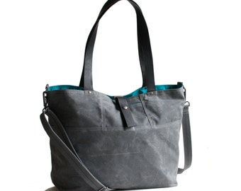 Waxed Canvas Tote - The Carrier - in Gray